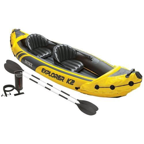 Kayak inflable lancha intex 2 personas + remos + bomba