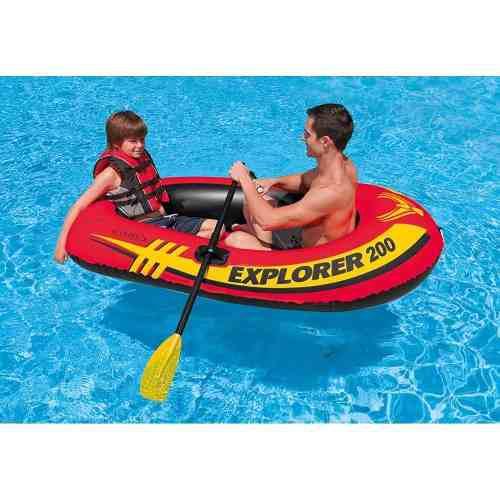 Lancha 2 personas kayak inflable intex 2 remos y bomba
