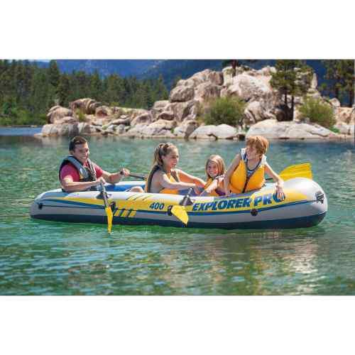 Lancha 4 personas kayak inflable intex 2 remos y bomba