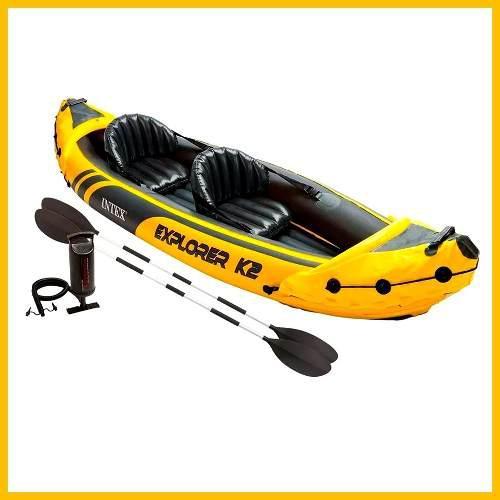 Lancha explorer k2 kayak inflable 2 personas remos aluminio