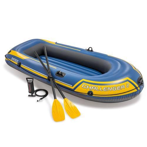 Lancha inflable intex 2 personas kayak + bomba + remos