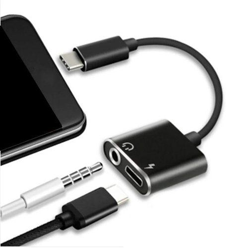 Adaptador de audio y carga usb c a 3.5 mm y usb c