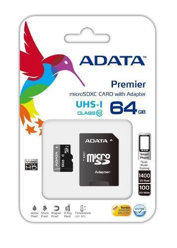 Adata memoria micro sd hc 64gb uhs-i clase 10 celulares 50mb