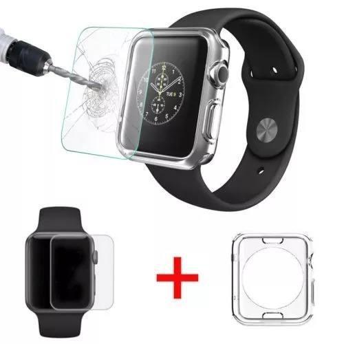 Funda tpu + cristal templado para apple iwatch 1 2 3 4