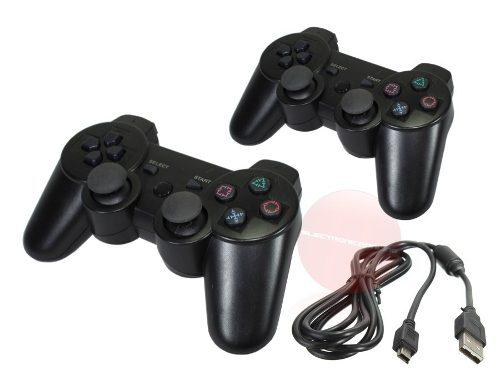 Kit 2 controles inalámbricos + cable datos ps3 playstation