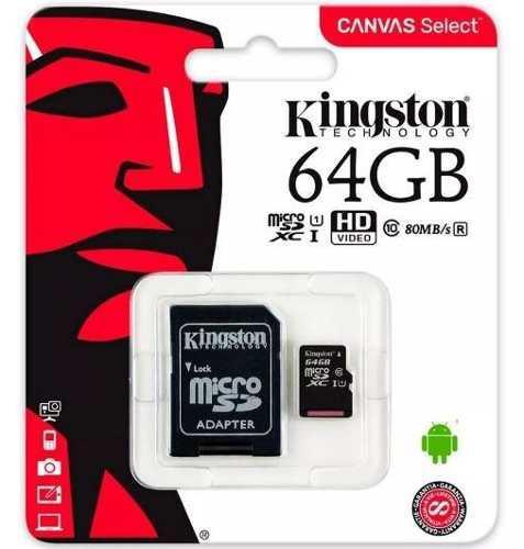 Memoria micro sd 64gb xc clase 10 kingston 80mb/s uhs-i