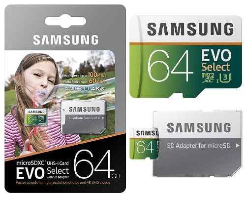 Samsung evo select 64gb 100ms 4k microsd memoria micro sd u3