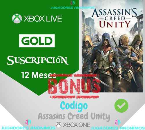 Xbox live gold 12 meses xbox one + assassins creed unity