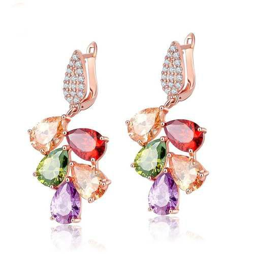 ab07c9d23be1 Aretes chapa oro con elements swarovsk multicolor envio