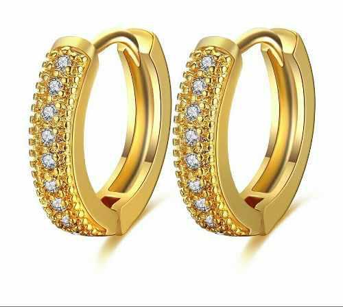 8aae7b226a9c Arracadas para niña de oro 19k laminado 13 mm brillantes.