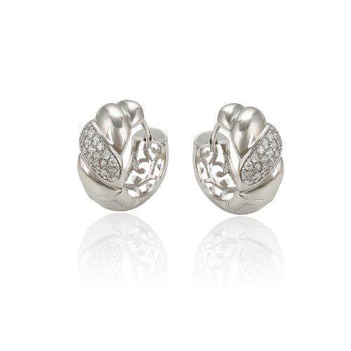 32bc14dc3662 Hermosas arracadas de oro blanco zirconias calidad diamante en ...