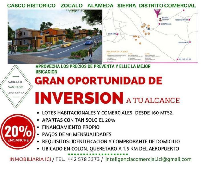 Terrenos habitacionales y comerciales en venta desde 160
