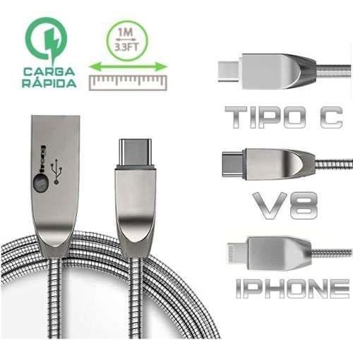 Cable usb metálico uso rudo para iphone samsung motorola lg