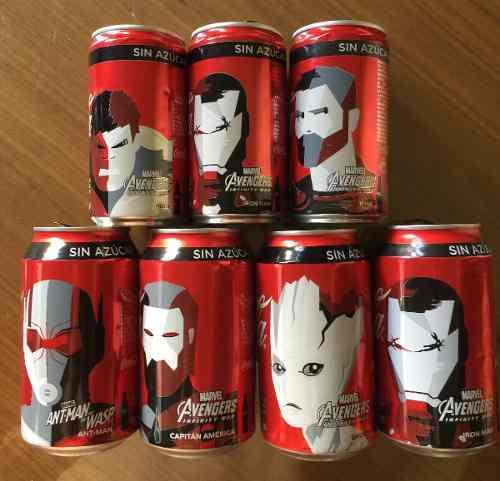 Coca cola coleccion 7 latas diferent avengers infinity ltd