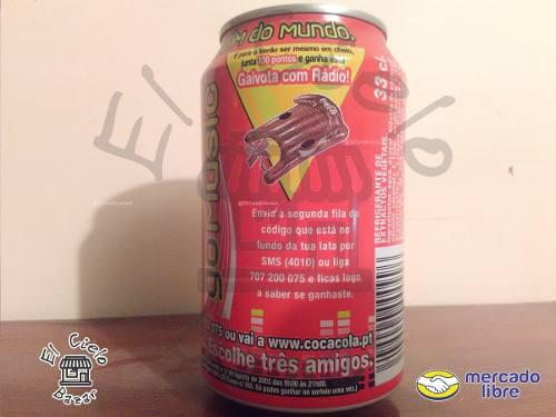 Lata coca cola go music de portugal llena del año 2010