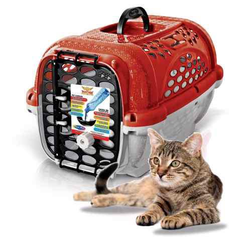 Transportadora gato perro plastpet mini panther air no1 roja