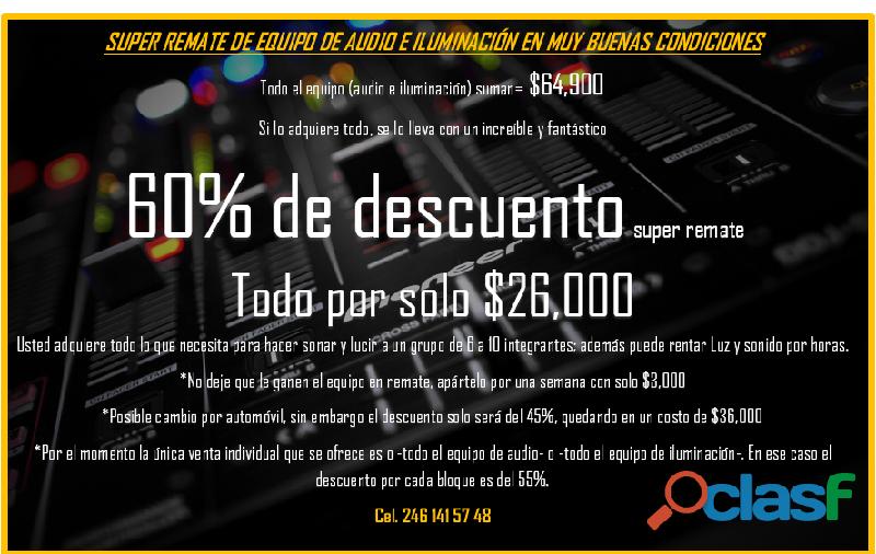 60% de descuento super remate de equipo de audio e iluminación en muy buenas condiciones