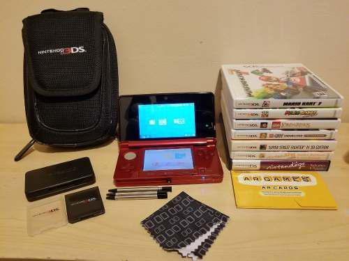 Nintendo 3ds con accesorios y 7 juegos
