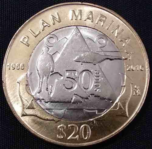 Mexico 2018 plan marina $20 moneda bimetálica conmemorativa