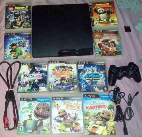 Ps3 slim 160gb no hackeable con 10 juegos control cables