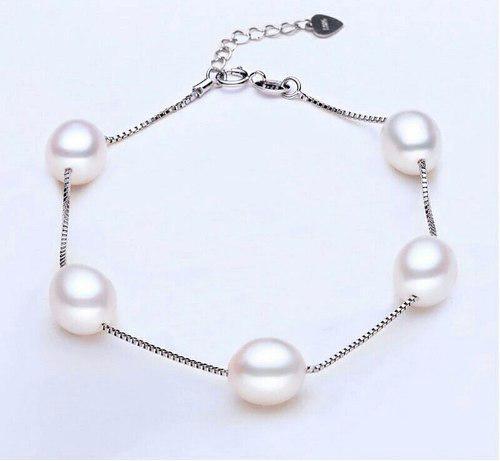 e9da95da8e66 Hermosa pulsera perla auténtica aaa y plata