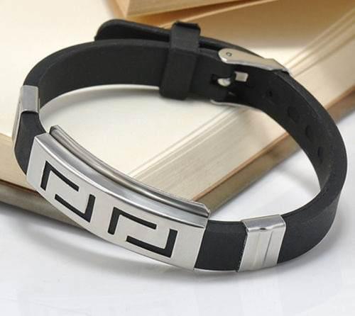 Oferta pulsera hombre acero 22 cm caucho hebilla tipo reloj