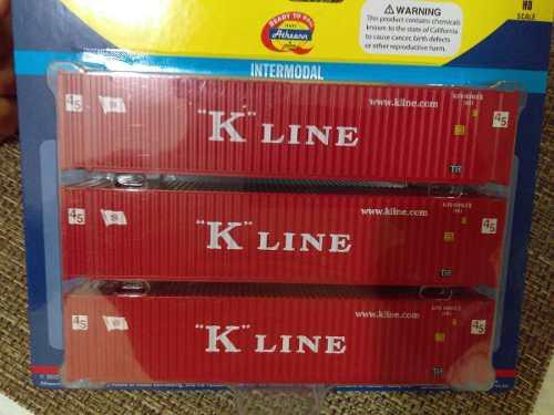 Paq de 3 contenedores 45´ k line, escala ho, athearn