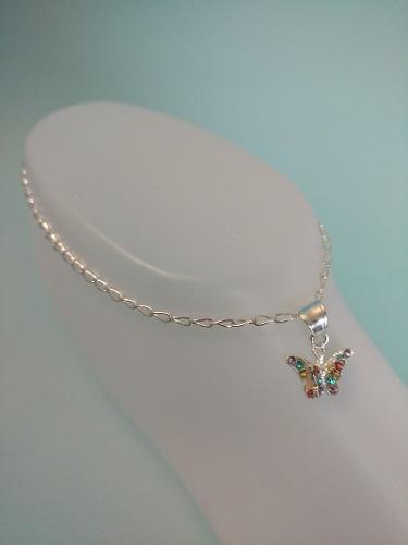 Pulsera de tobillo de plata con mariposa con cristales