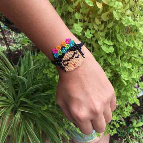 Pulsera frida kahlo chaquira accesorios mujer moda miyuki