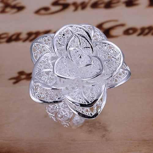 Anillo de flor ajustable plata.925 envio gratis