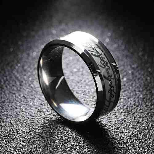 Anillo señor de los anillos luminoso acero inoxidable