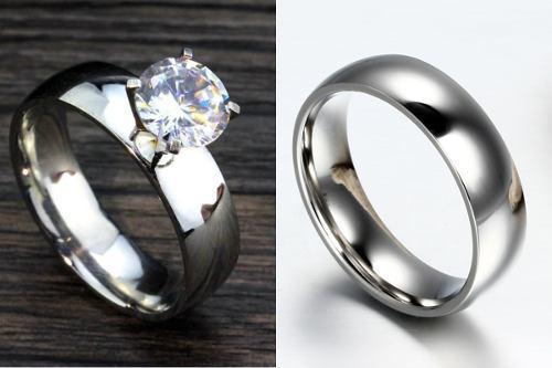 Anillos para pareja tipo compromiso de acero inoxidable