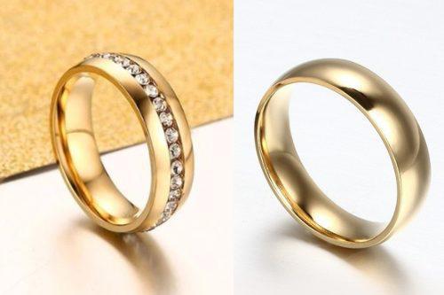 Par anillos dorado compromiso pareja acero inoxidable