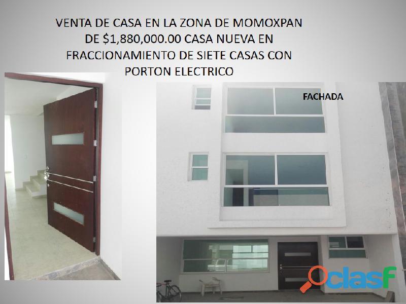 VENTA DE CASA EN MOMOXPAN 3 RECAMARAS CON BAÑO Y CLOSET MAS SALA T.V 1