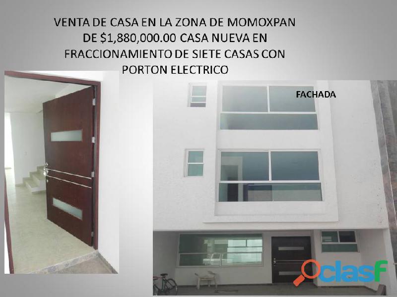 Venta de casa en momoxpan nueva 4 recamaras closet y baño