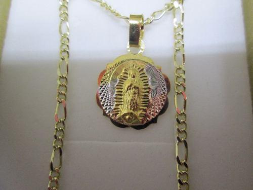 e8668fe8f10 Cadena fígaro y medalla virgen chapa oro 14 kilates