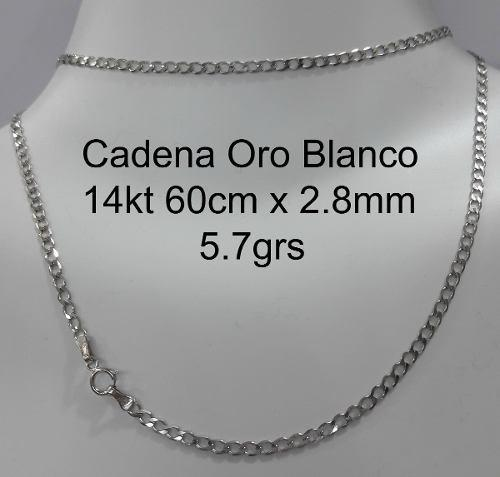 7479f3b0b467 Cadena oro blanco 14k 5.7gr largo 60cm ancho 2.8mmm en México ...