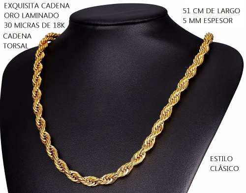 89b22ae54596 Cadena torsal oro laminado 18k 30 micras 5mm 51cm bellísima