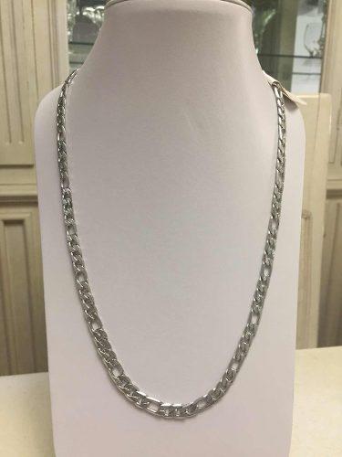 a305306f94dc Collar acero inoxidable color plata caballero cadena figaro en ...