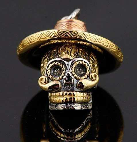 Dije Calavera Mexicana Plata 925 Bigotón Sombrero Muerte En México