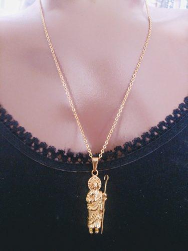 Dije medalla san judas tadeo acero inoxidable dorado