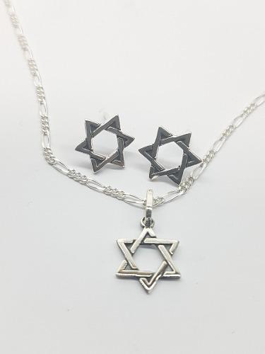 c9d83fa2b69c Dije y aretes de estrella de david plata ley.925 con cadena en ...