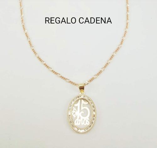 554f6356446e Hermosa Medalla 15años Oro 10k Y Cadena Tipo Cartier