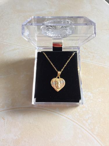 Medalla virgen de guadalupe de corazon oro laminado 14k 8b5e71045d3