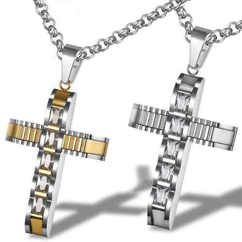 0b676c9825f9 Regalo papá cruz crucifijo acero inoxidable swarovski