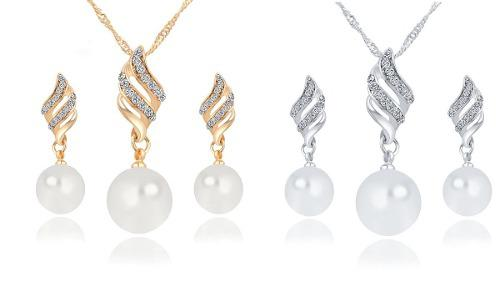 3978b6657525 Set collar aretes juego joyeria fantasía mayoreo accesorios en ...