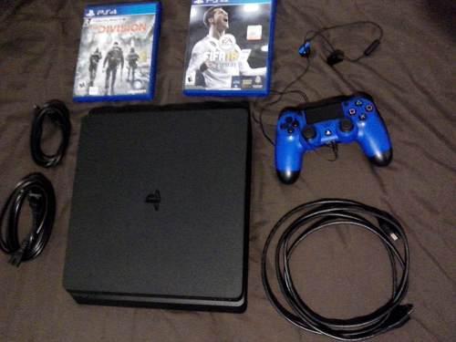 Playstation 4 cuidadísimo (ps4) slim 500 gb, 2 juegos