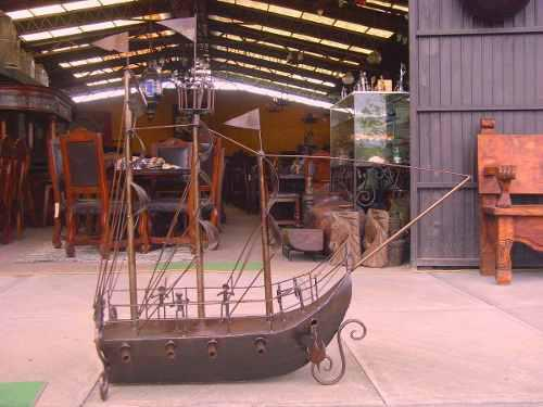 Escultura Barco Pirata De Metal Estilo Antiguo. Unico.