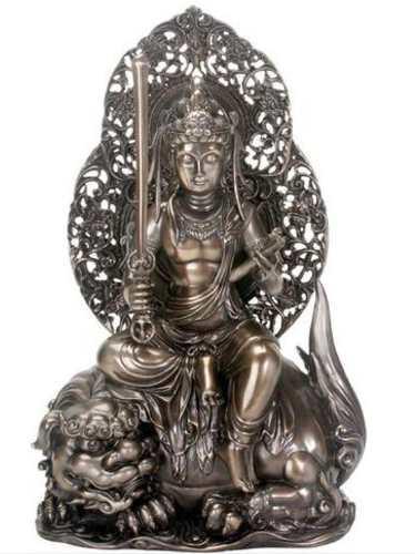 Escultura De Buda Manjushri De 29cm Acabado En Bronce
