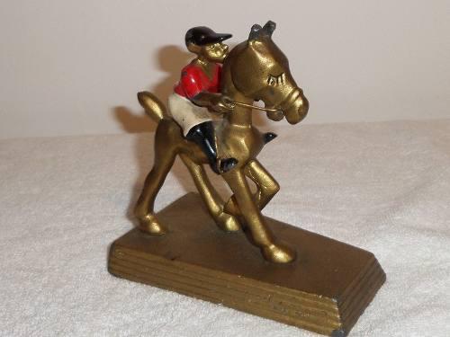 Figura Escultura De Bronce Art Deco Caballo Hipódromo
